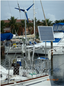 CMP 90 Watt marine Solar Panel on top of pole mounting system and Wind Generator on boat