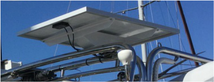 Custom Mounting Bracket for 120 Watt Marine Solar Panels on a Hylas 49 boat