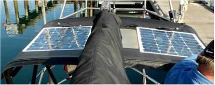 Two 50 Watt Semi-flexible Solar Panels on a Bimini on sailboat