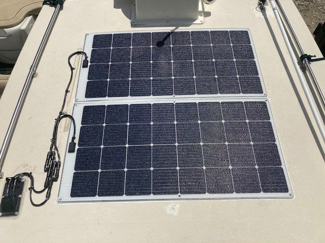 walk on marine solar panels with sunpower A+ Maxxeon cells mounted on powerboat roof