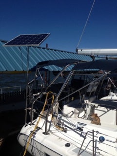 CMP 160 Watt Rigid Marine Solar Panel with Pole Mount on a Hunter 41 sailboat