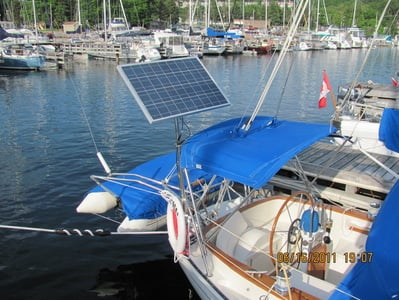 90 Watt rigid Marine Panel on Aloha 32 sailboat using top of pole solar panel mounting system