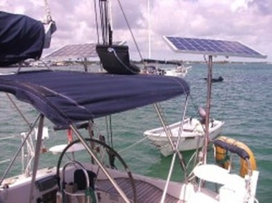 two marin solar panels using top of pole mounting system on sailboat