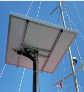 solar water heater integrated with solar panel on top of pole on boat