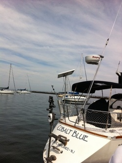 90 watt rigid marine solar panel mounted on top of pole on sailboat
