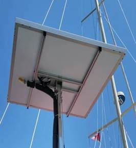 Radiant Solar Water Heating System Integrated with the Boat Fresh Water System on top of pole with solar panel heat collector installed on sailboat