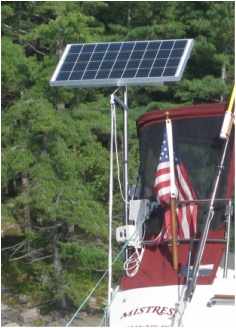 rigid marine solar system kit with top of pole mount and optional lifting crane on sailboat