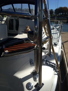 example of solar panel pole placement on Hunter sailboat