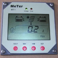 Remote Solar Panel Controller Display Showing Panel Output and Battery Condition