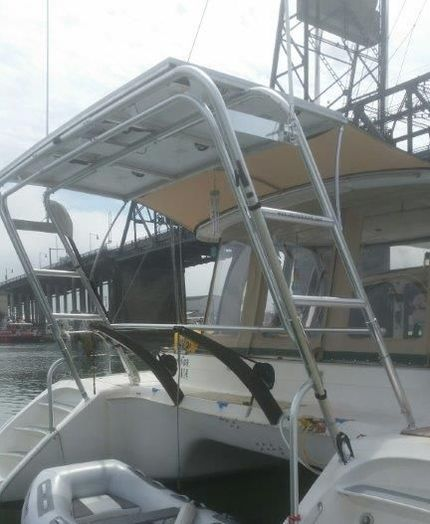six 120 watt rigid marine solar panles on a boat