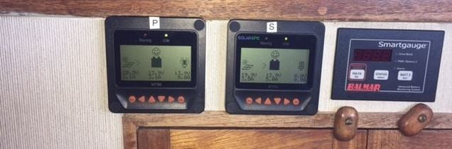 Tracer BN Meters Showing Performance of two 160 Watt Panels mounted in boat
