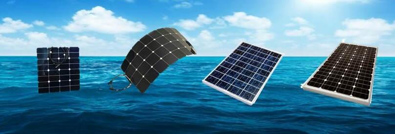 Panneaux solaires de gauche à droite: 50 et 100 watts flexibles, 100 watts rigides polycristallins, 150 watts rigides monocristallins