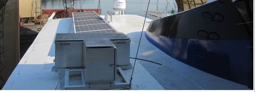 rigid marine solar panels mounted on commercial ferry boat