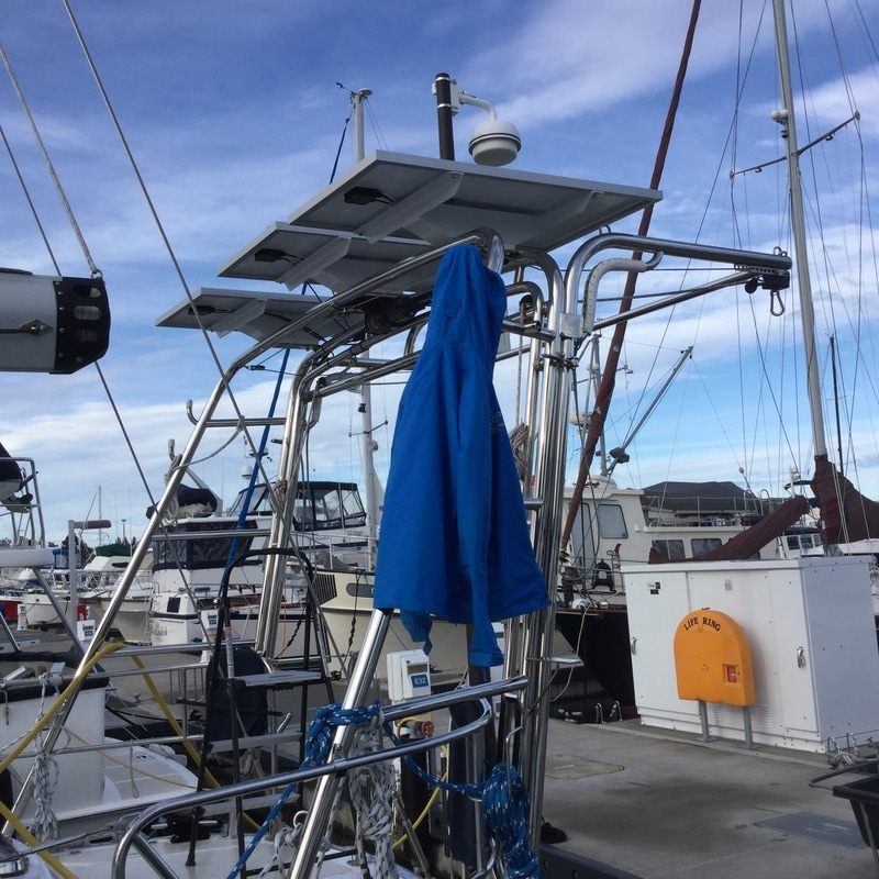 three 120 Watt Rigid Marine Solar Panels on a Hylas 49 boat