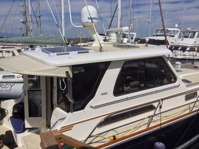 Two 175 Watt SunPower Cell Rigid Marine Solar Panels mounted on a Sabre 42 boat
